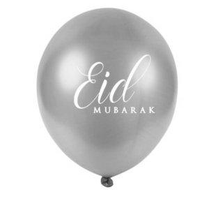 Eid Mubarak Metallic Silver Balloons