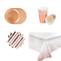 Party Tableware set for 16 persons - Pink