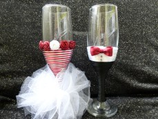 Handmade champagne toasting flutes (white and cherry-red) on Facebook page