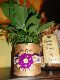 handmade lace and twine flower pot 2