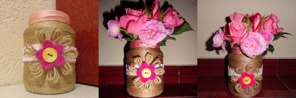 twine and lace vase - pink