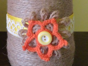 yellow and orange flower vase detail- twine and lace