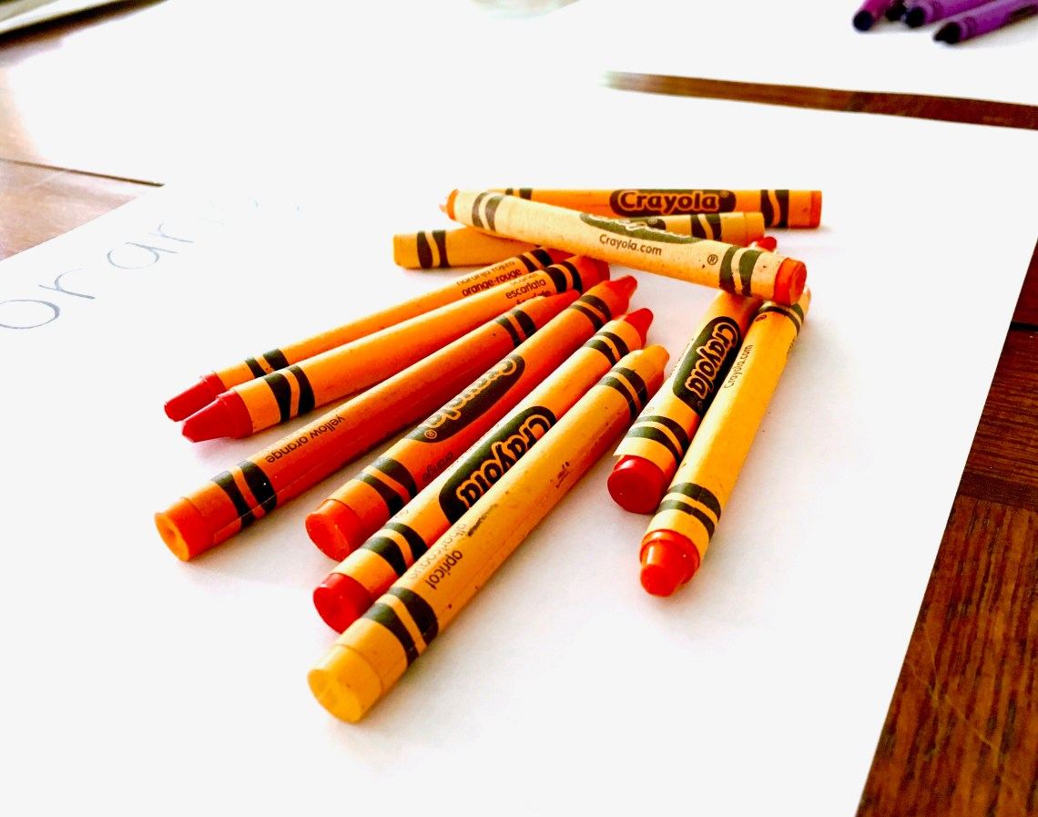 orange crayons
