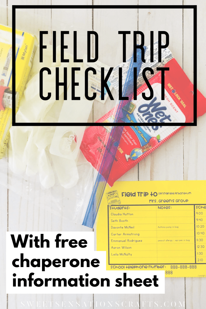 Field trip checklist with free editable chaperone information sheet