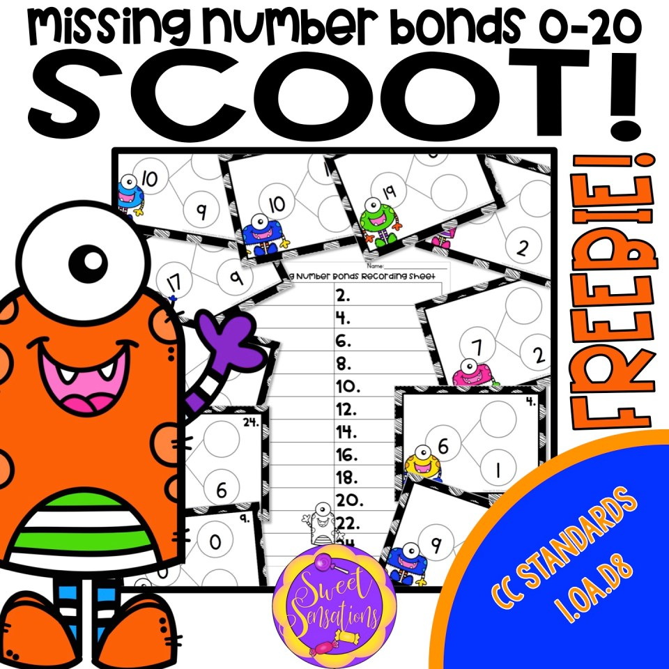 Free math scoot game for first grade missing number bonds - includes directions!