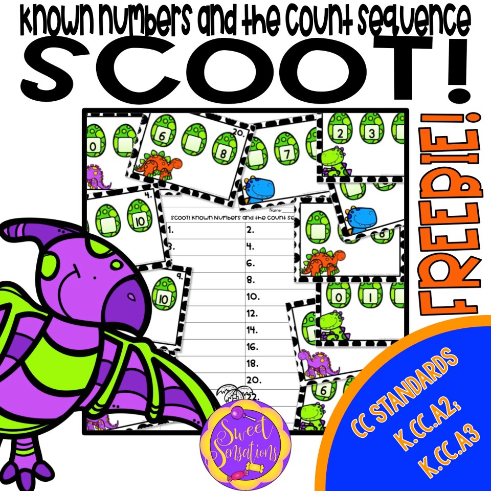 Free math scoot game for kindergarten known numbers and the count sequence - includes directions!