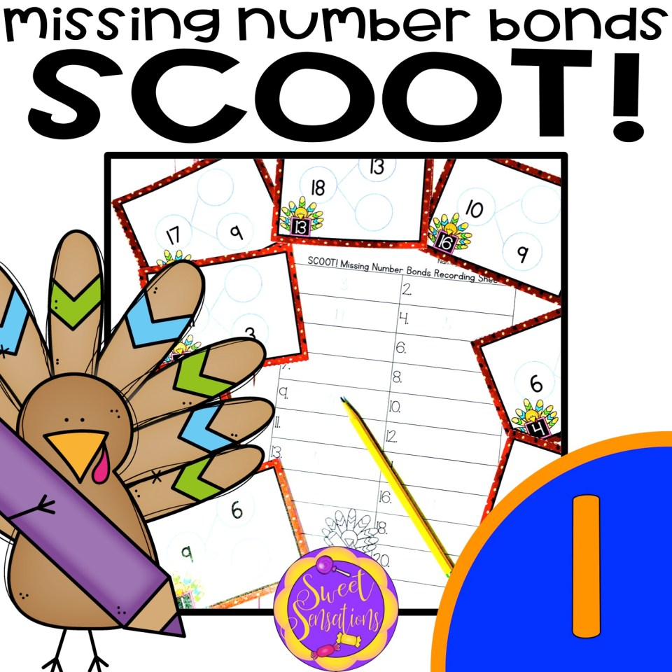 Free math scoot game for first grade missing number bonds - includes directions!  Thanksgiving turkey theme.