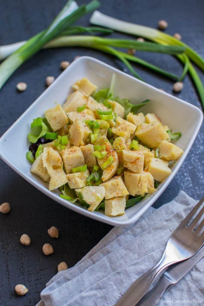 Chickpea salad - Chickpea flour cubes gluten free