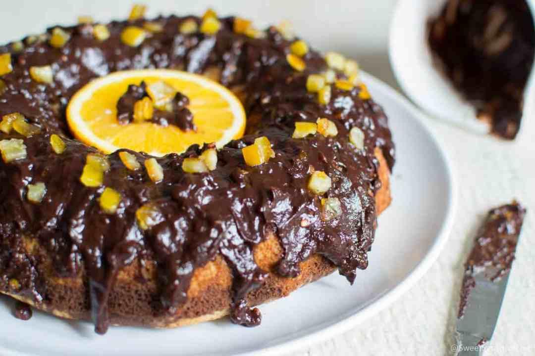 Gluten free vegan chocolate orange glazed cake