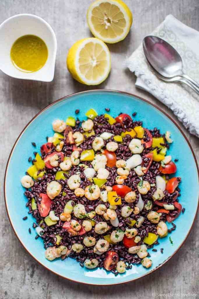 Picnic BBQ black rice shrimp prawn veggies salad Insalata riso nero gamberetti verdure