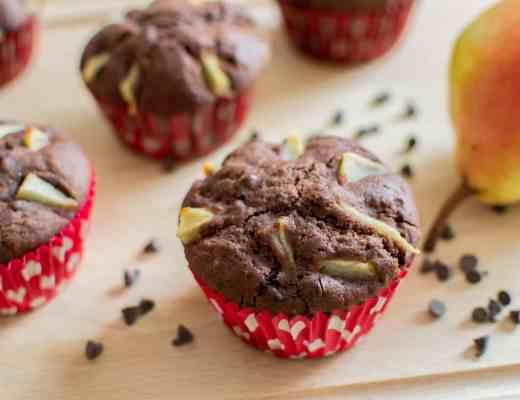 Muffin pere cioccolato senza glutine lattosio latticini uova vegan facili veloci