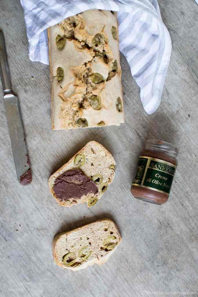 Gluten free millet olive bread loaf