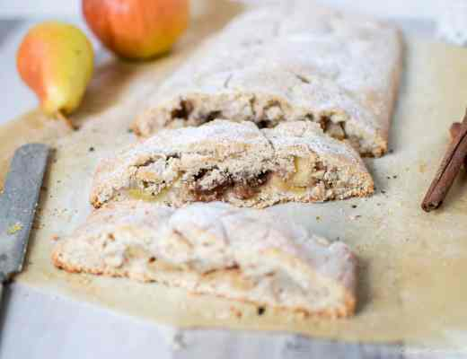 Gluten free vegan strudel with homemade easy quick soft shortcrust pastry