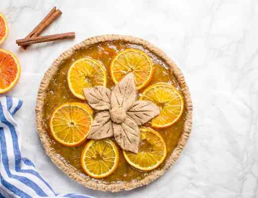 Gluten free Vegan Gingerbread tart pie with orange jam marmalade