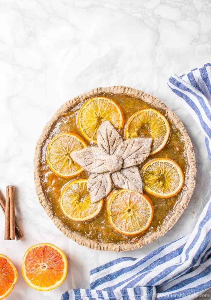 Gluten free Vegan Gingerbread Orange Tart