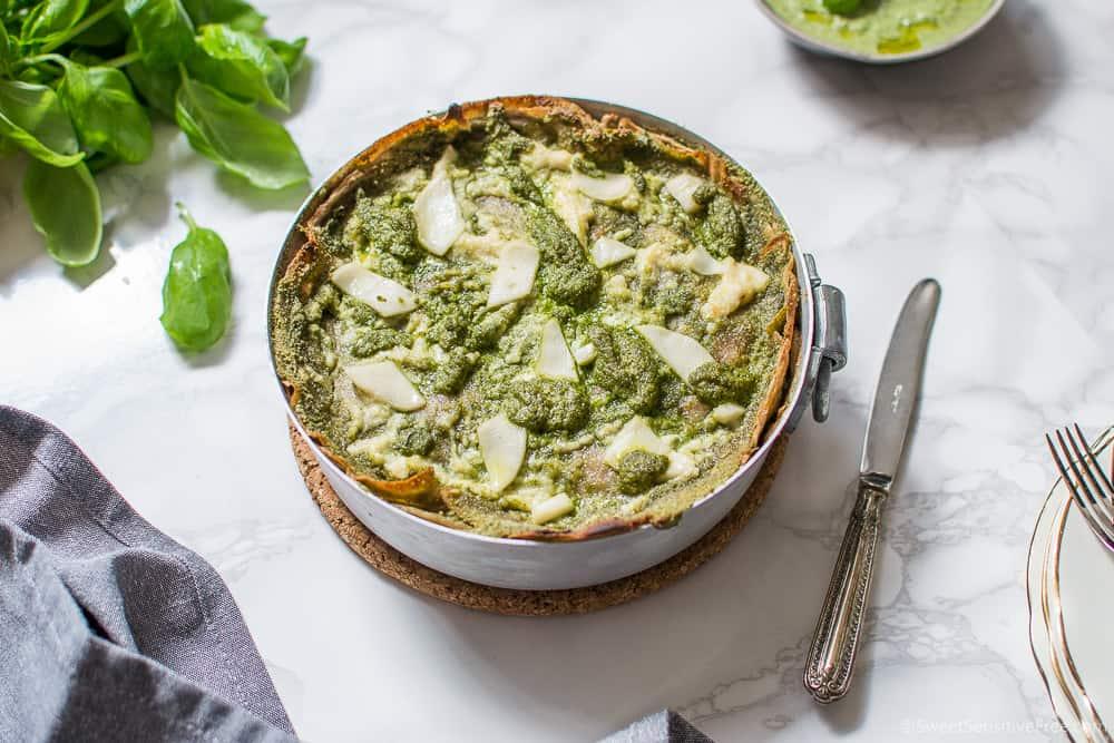 Lasagne al pesto senza glutine - Lasagne di crepes senza glutine vegan