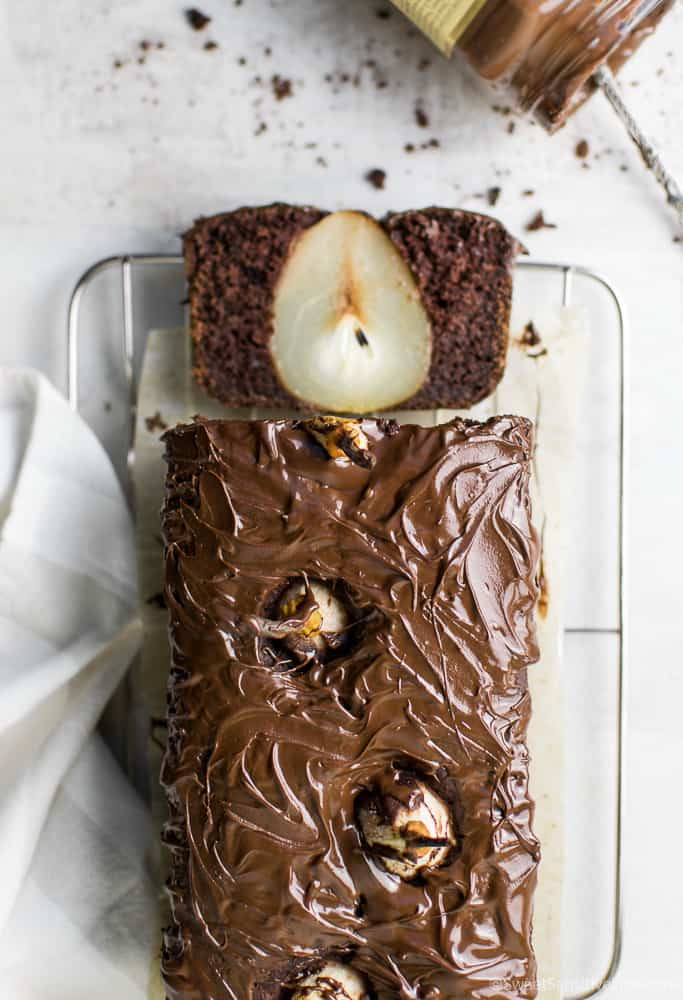 vegan gluten free chocolate cake with pears