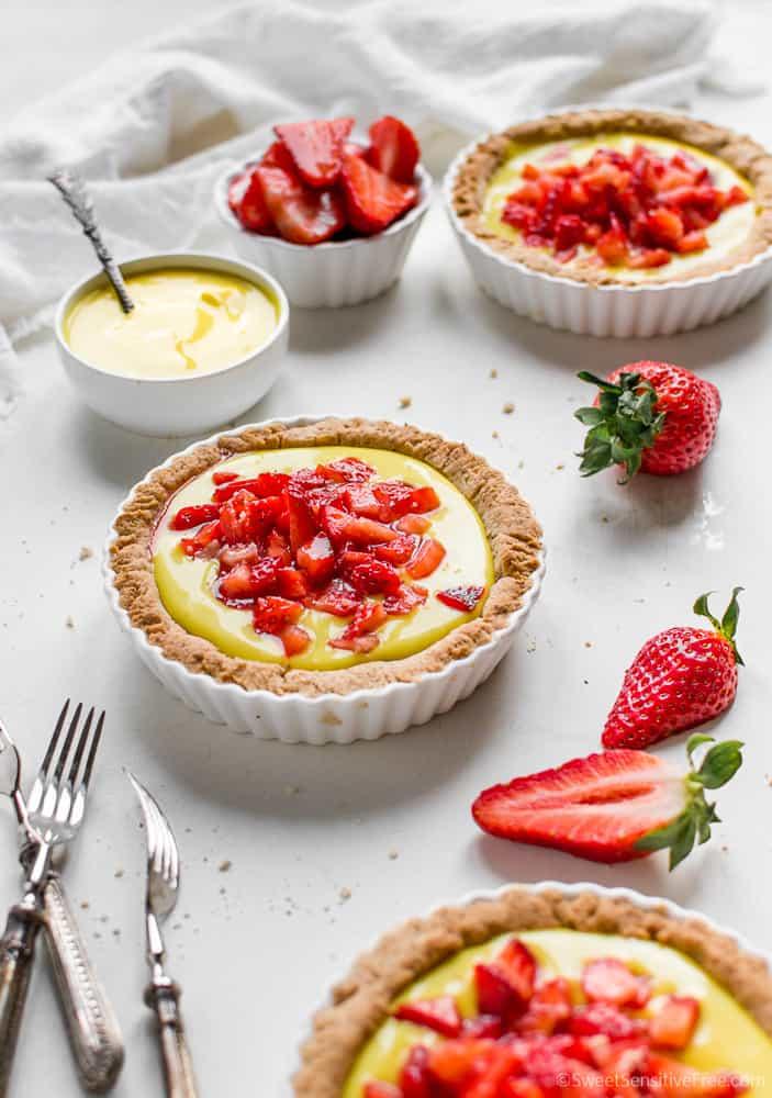 Gluten free Vegan Strawberry Custard Tarts