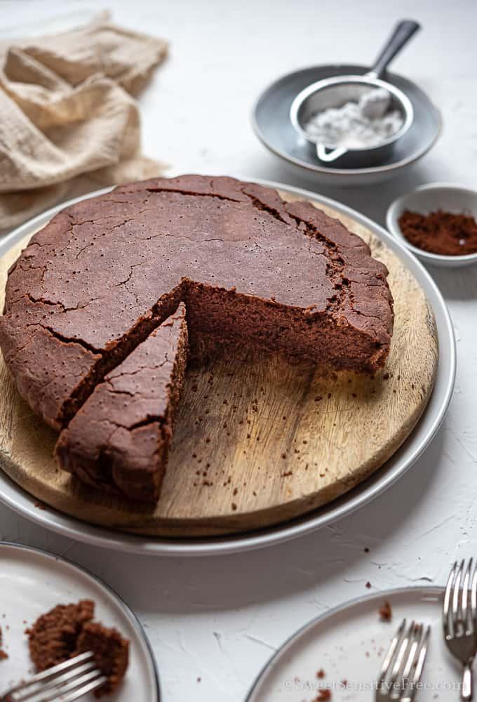 Vegan gluten free chocolate cake with aquafaba