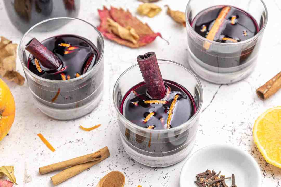 Spiced Liqueur made with red wine cinnamon orange for Christmas