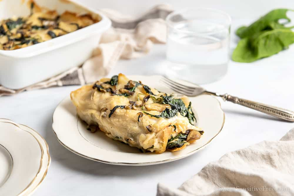 Vegan Gluten free Crepes Cannelloni with Spinach and mushrooms