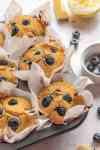 freshly baked gluten free vegan blueberry muffins