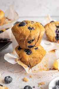 stack of gluten free blueberry muffins