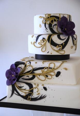 Painted Purple and Gold Wedding Cake   Sweet Serenity Back to more wedding cakes Hand Painted Purple and Gold Wedding Cake