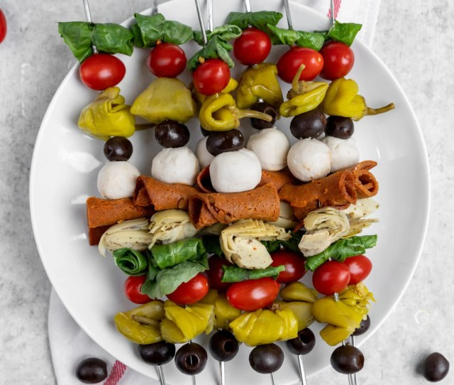 Easy Vegan Antipasto Skewers  Ingredients A No Cook Recipe That Is Perfect For A Last Minute Party Appetizer For