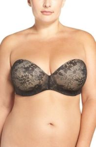 CURVY COUTURE strapless underwire push up bra, best strapless bra for heavy breasts