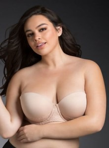 Nude Microfiber Lace Strapless Bra with Stay-put Push-up padding, best strapless bra for heavy breasts