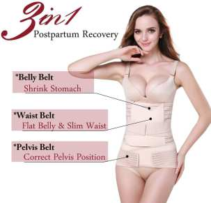 TiRain 3 in 1 post pregnancy support wrap - best postpartum recovery belt for belly, waist and pelvis