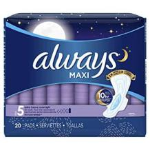 Always Extra Maxi Pads with Flexi-Wings for Overnight use, one of the best pads for postpartum, best maxi pads for postpartum
