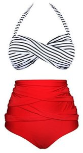 Women's Vintage Polka Dot High Waist Bathing Suit, Bikini Set marketed by Angerella, best swimsuits to hide belly pooch