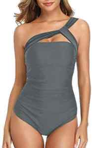 Best Women's One Shoulder Ruched Bathing Suit by Holipick