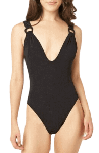 Robin Piccone Women's Kate Plunge One Piece Swimwear, best one piece swimsuits for large bust