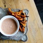 Sweet Potato Fries and a Spicy Tomato-Garlic Aioli