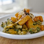 Roasted butternut squash, penne, and pistachio pesto