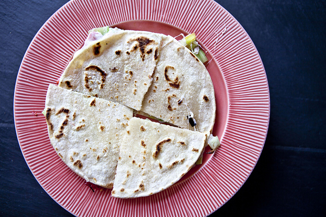 An Ode to Mindy: Strawberry, Leek, and Goat Cheese Quesadilla