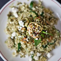 Green Herb Shrimp with Summer Squash Quinoa