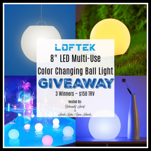 Three lucky winners will each receive a LOFTEK 8-inch LED Multi-Use Color Changing Ball Light! TRV $150 #Contest #Winit #BTS #BackToSchool #GiftGuide