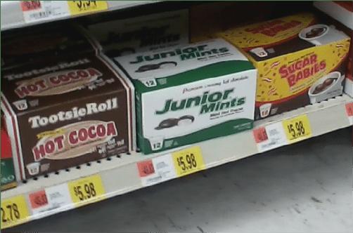 Sugar Babies, Junior Mints, and Tootsie Roll Hot Cocoa at Wal-Mart