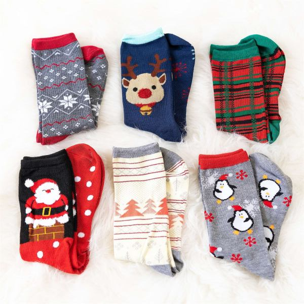 6 Pack Holiday Socks | Free Shipping