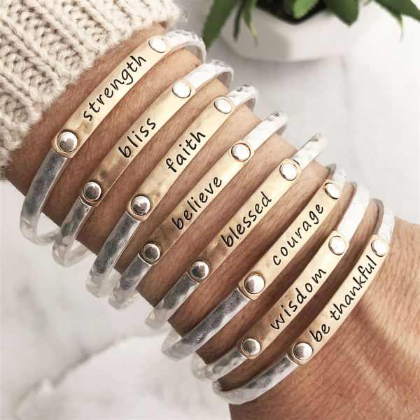 Inspiration Words Stacking Bangles | Free Shipping