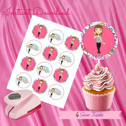 HIPPIE CHICK CUPCAKE TOPPERS 2- IMAGEN PROMO
