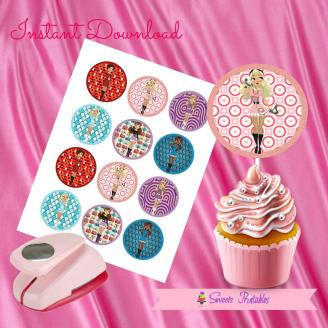 RETRO DOLL CUPCAKE TOPPERS 2- IMAGEN PROMO