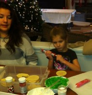 Sami contemplates her next color choice while my second cousin Madison looks on