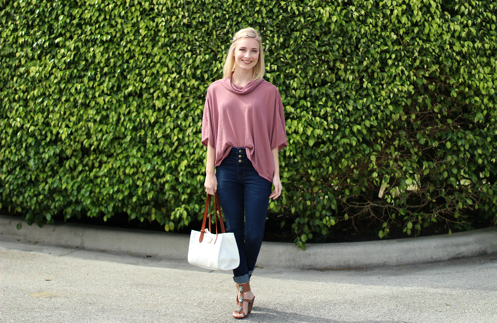 High waisted jeans and a slouchy cowl neck top