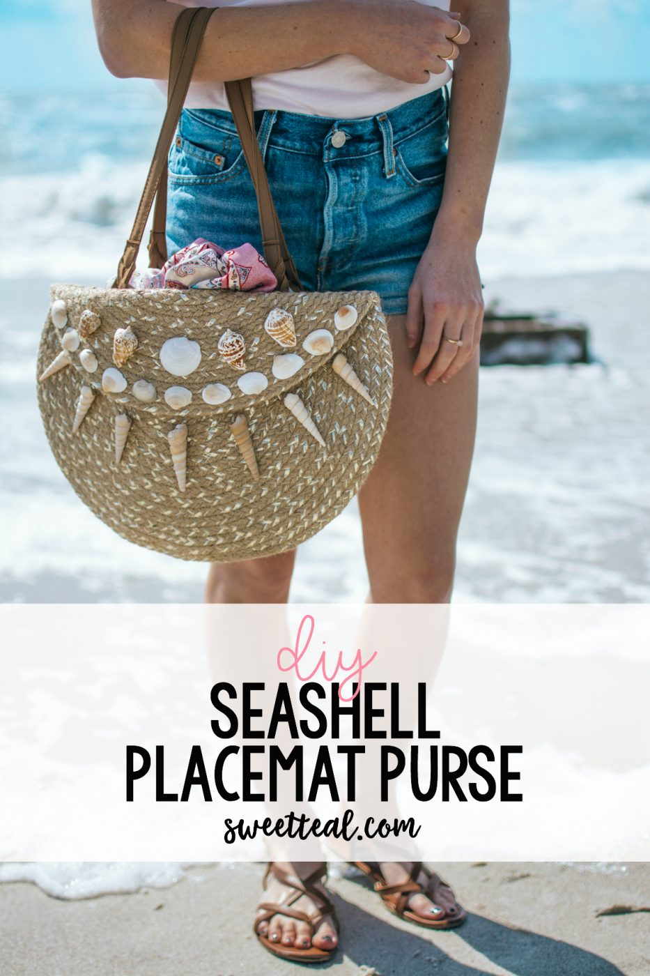 diy seashell placemat purse by Jenny Bess of Sweet Teal