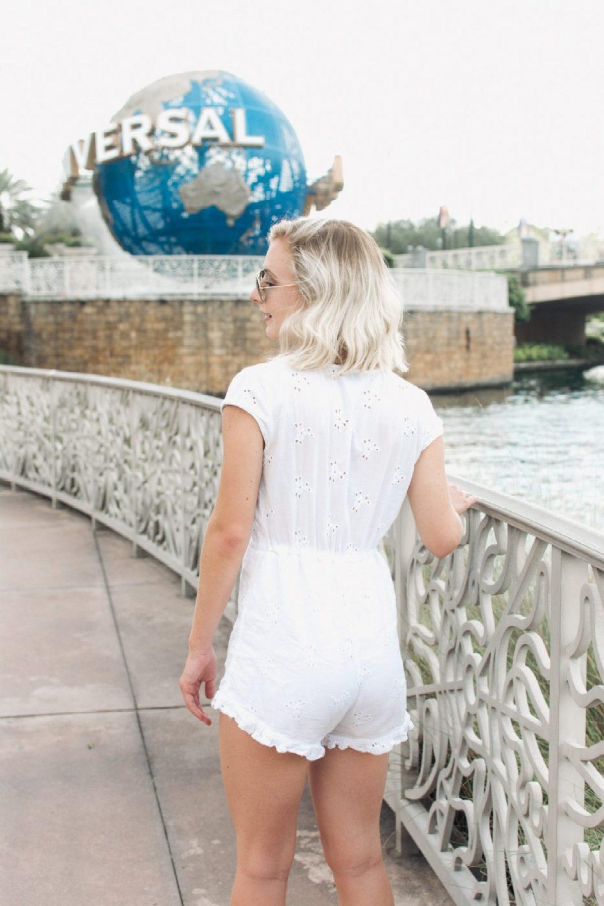 Jenny Bess in front of Universal Studios globe
